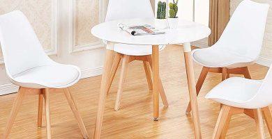 Conjunto de mesa y sillas nórdicas color blanco Venta muebles online, ventamueblesonline, tusmesasysillas, wallapop, menzzo, Pinterest, imágenes, fotos, sillas y mesas de madera,