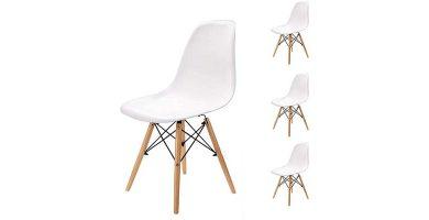 Conjunto de sillas nórdicas blancas estilo Tulip Egoonm