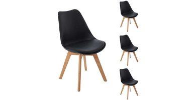 Juego de 4 sillas nórdicas tapizadas negras Dorafair